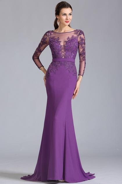eDressit Lange Ärmel Applikation Lila Formal  Abendkleid (02152906)