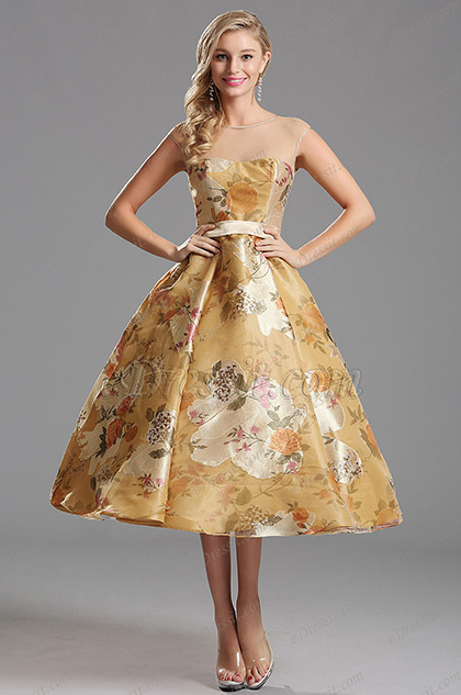 Capped Sleeves Illusion Floral Tea Length Cocktail Dress (X01150124)
