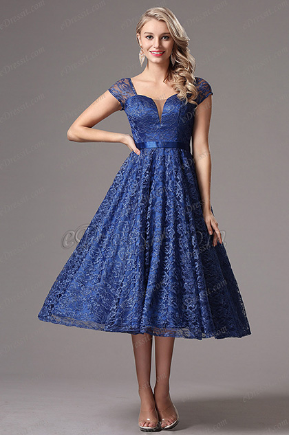 Short Sleeves Illusion V Cut Tea Length Dress (X04145205)