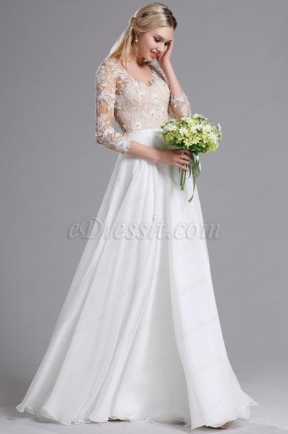 eDressit White 3/4 Sleeves V Neck Summer Evening Dress (01161507)