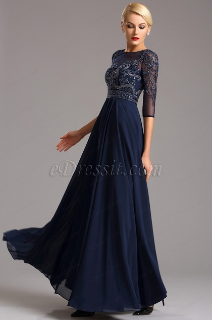 Half Sleeves Navy Blue Evening Dress Formal Gown (36161305)