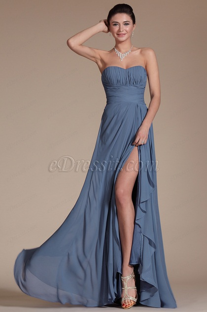 Simple Strapless Bridesmaid Dress Evening Dress (C00142605)