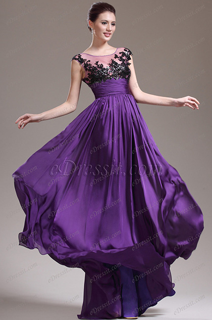 Capped Sleeves Lace Bodice Purple Evening Dress (H02132306)