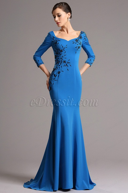 eDressit Blue Embroidery Long Sleeves Mermaid Evening Dress (26160905)