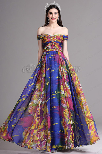 eDressit Off Shoulder Multicolor Pleated Summer Printed Dress (X07151705)