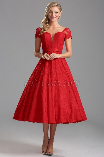 Cap Sleeves Illusion V Neck Red Tea Length Dress (X04145202)