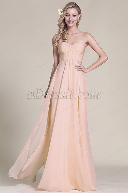 Elegant Strapless Sweetheart Rosy Brown Bridesmaid Dress Formal Dress (07153346)