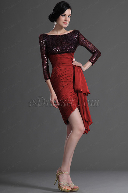 Sequin Burgundy Cocktail Dress Party Dress (H26125205)