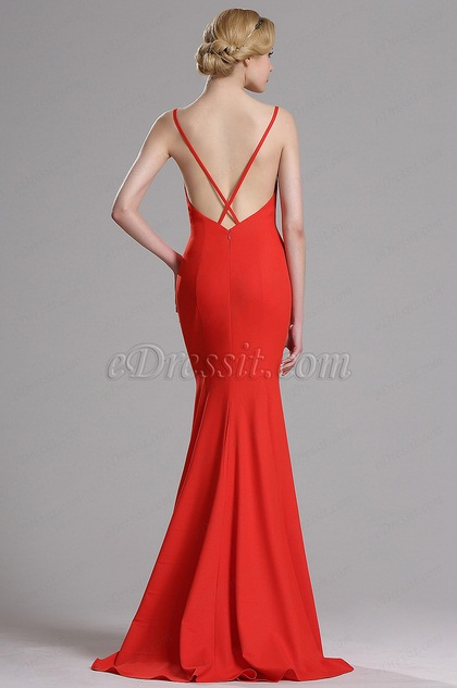Red Strapped Mermaid Evening Dress Prom Gown (00163402)