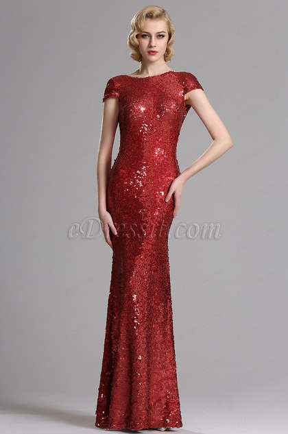 Stunning Capped Sleeves Red Sequin Formal Dress (X07160302-1)