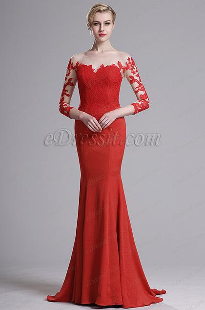 Красное Кружевное Вечернее Платье с Празрачными Фатинами (02164102)