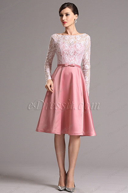 Robe de cocktail rose brunâtre manches en dentelle (04151846)