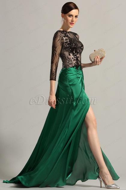 Robe vert emeraude longue