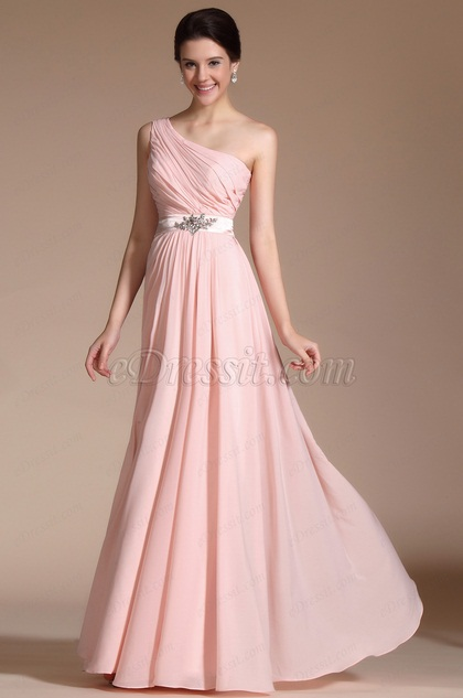 Gorgeous Pink One shoulder Evening Dress(C00140501)