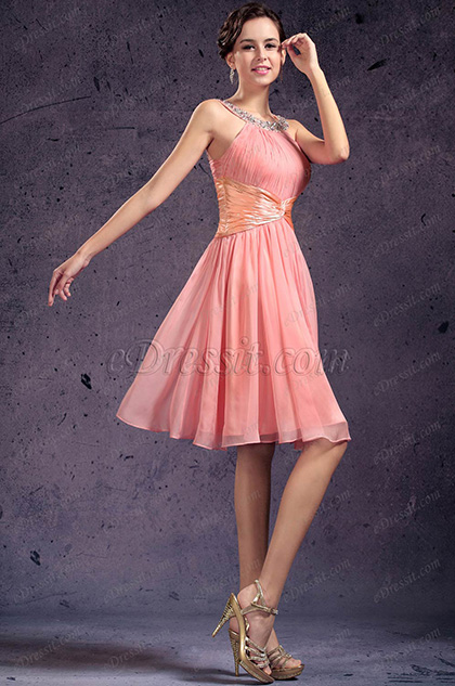 Beaded Pink Cocktail Dress Party Dress (H04133901)