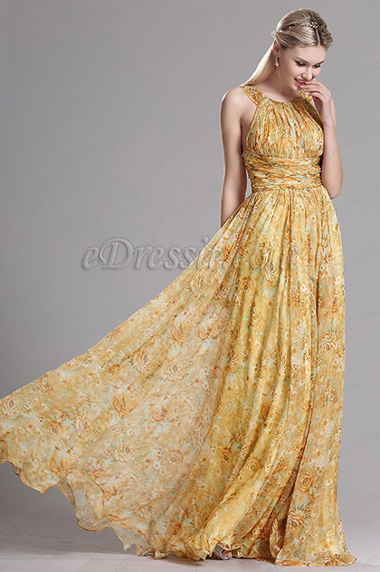Halter Neck Yellow Printed Summer BOHO Evening Dress (X07153924)