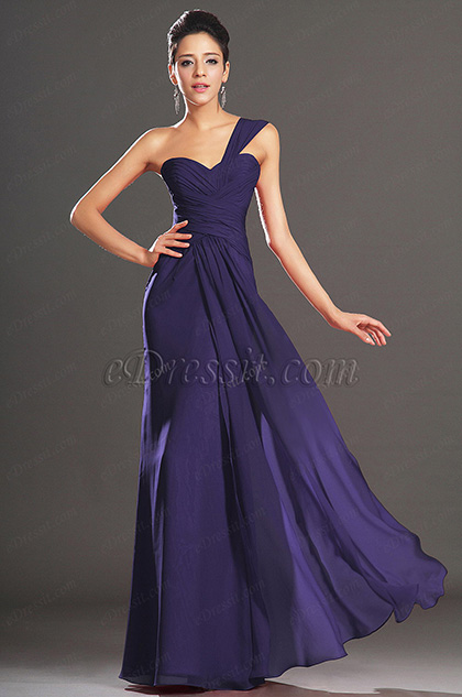Elegant One Shouder Blue Evening Dress Prom Dress (H00132002)