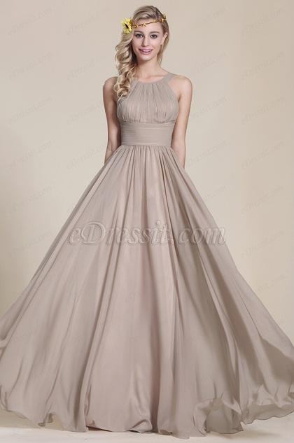 eDressit Robe demoiselle d'honneur long grise sans manche (07153908)