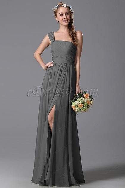 One Shoulder Slit Grey Bridesmaid Dress Evening Dress (07156908)