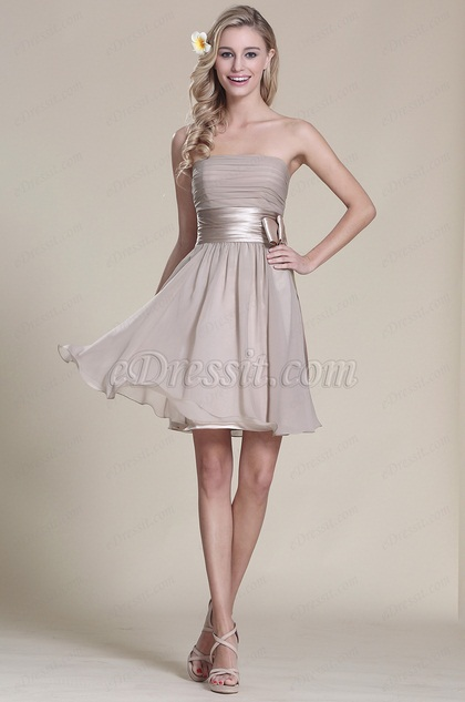 Strapless Grey Party Dress Bridesmaid Dress (07152108)