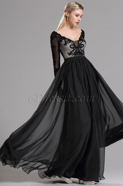 eDressit Black Lace Bodice Long Sleeves Prom Evening Dress (02162500)