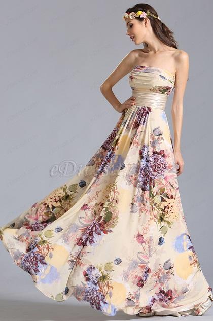 Trägerlos Flach Ausschnitt Bedrucktes Sommer Blumen Kleid (07151468)