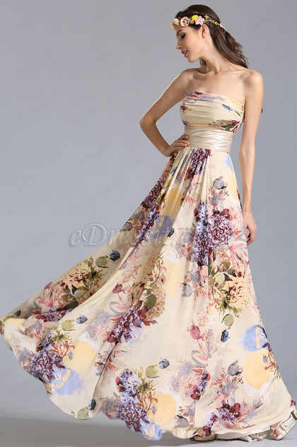 Strapless Flat Neckline Printed Dress Summer Floral Dress (07151468)