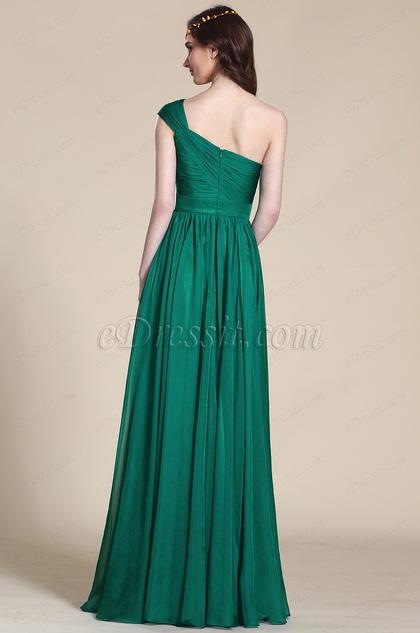 robe demoiselle d 39 honneur longue verte asym trique 07152504. Black Bedroom Furniture Sets. Home Design Ideas