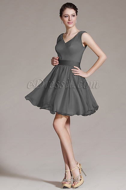 V Cut Grey Bridesmaid Dress Party Dress (07156408)