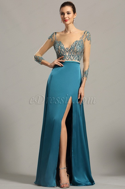 eDressit Long Sleeves Sexy Plunging Formal Dress Evening Gown (00154405)