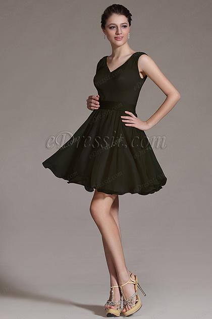 Простое V Декольте Коктейльное Платье Бальное Платье  (07156400)