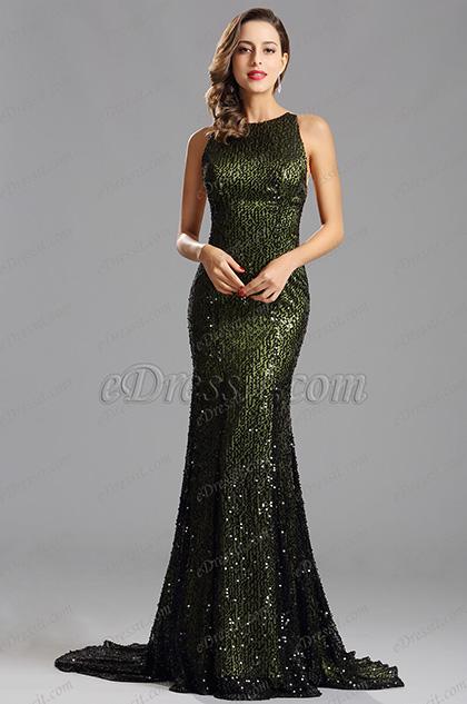 Sleeveless Long Sequin Green Formal Dress Evening Gown (X00155204)