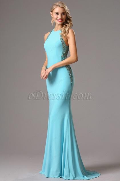 Vestido de Fiesta Azul Formal con Piedritas Detalledas (36160932)
