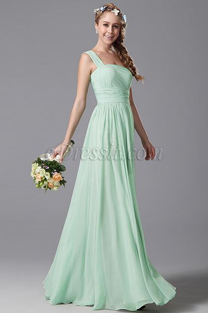 One Shoulder Slit Mint Bridesmaid Dress Evening Dress (07156904)