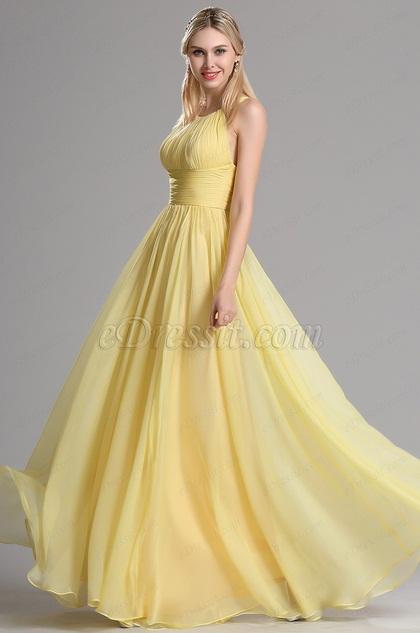 eDressit Halter Neck Yellow Evening Dress Bridesmaid Dress (07153903)