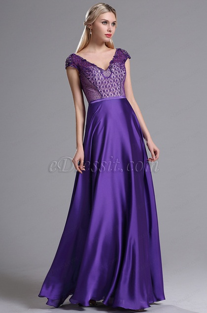 eDressit Purple V Neckline Embroidery Beaded Prom Dress (02164006)