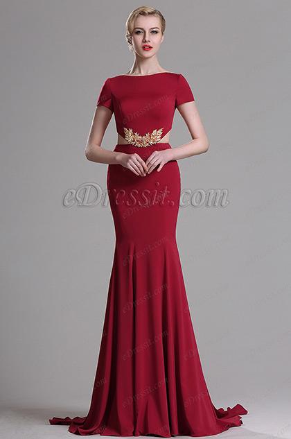eDressit Robe de Soirée Sirène Manche Courte Rouge (00163317)