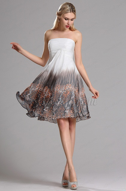 Strapless Floral Cocktail Dress Beach Holiday Party Dress (X07151810)