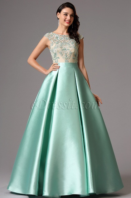 Sleeveless Green Embroidery Ball Gown Formal Dress (02162004)