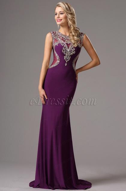 Robe de Soirée Violet Longue Sexy Dos Perles (36161706)