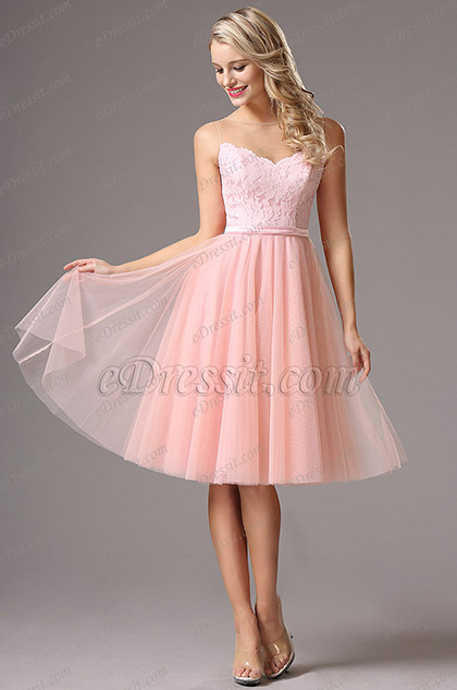 Robe de Cocktail Rose Sans Manches Sweetheart (04160501)