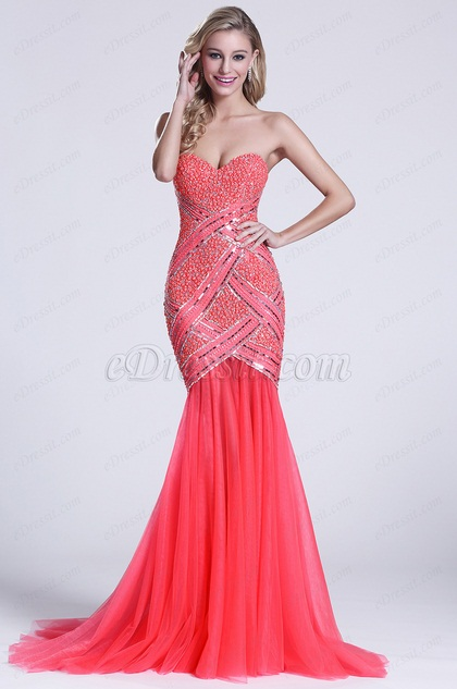 Strapless Sweetheart Beaded Coral Graduation Dress (C36150257)