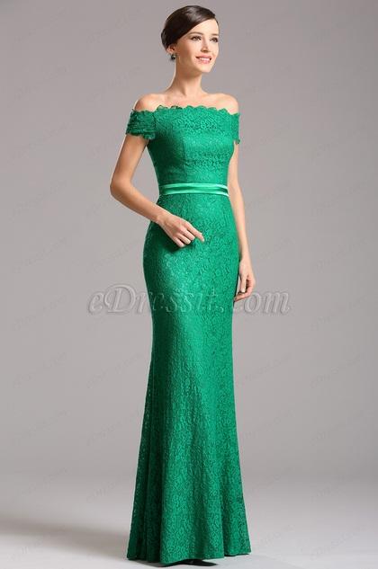 Офф Плечи Зелёное Вечернее Платье с Прямом Декольте (07153204)