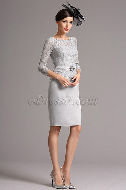 Modest Grey Mother of the Bride Dress with Sleeves (26161008)