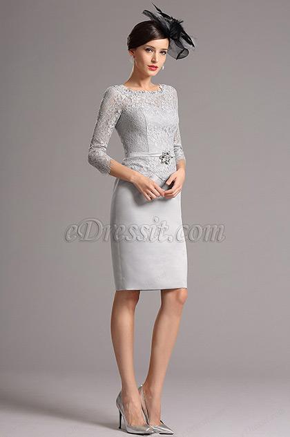 Elegant Grau Mutter' Kleid  von Braut mit Ärmel  (26161008)