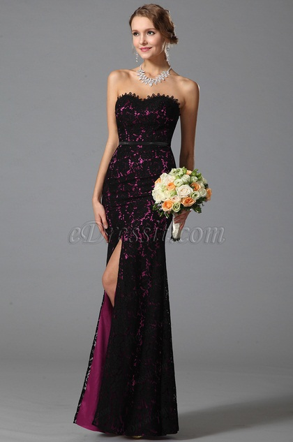 eDressit Flattering Strapless Sweetheart High Slit Prom Dress (07151212)