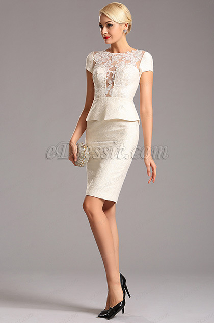 One Piece Short Sleeves Ivory Short Dress (03160407)