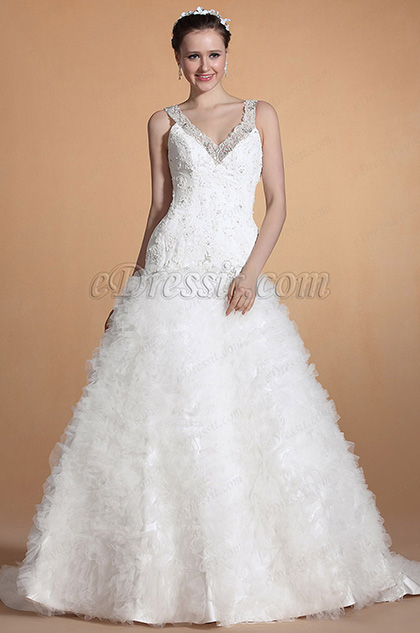 Sexy V-cut Straps Beaded lace decorated Mermaid Wedding Gown (C37142707)