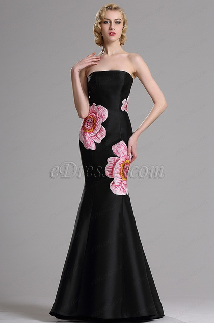Edressit Floral Embroidery Strapless Black Prom Dress 00163100