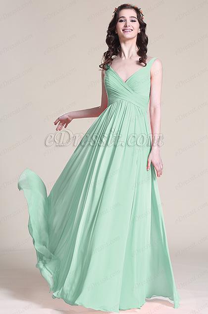 v cut mint green bridesmaid dress evening dress 07151604. Black Bedroom Furniture Sets. Home Design Ideas